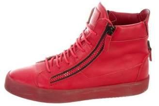 Giuseppe Zanotti Round-Toe High-Top Sneakers red Round-Toe High-Top Sneakers