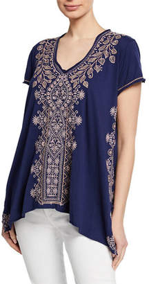 Johnny Was Tasya Embroidered Short-Sleeve Drape Cotton Top