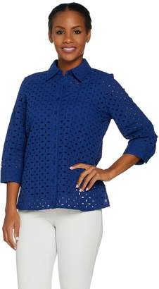 Denim & Co. 3/4 Sleeve Button Down Eyelet Shirt with Tank