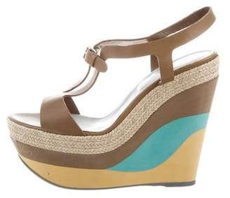 733a8ae83a Sergio Rossi Leather Wedge Sandals