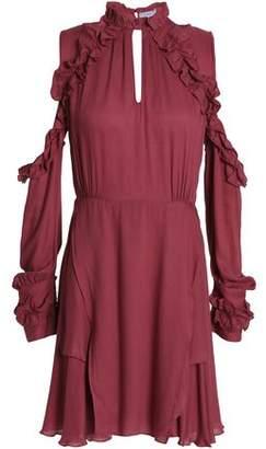 IRO Ruffled Cold-Shoulder Cutout Crepe De Chine Mini Dress