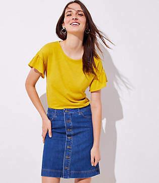 LOFT Petite Button Down Denim Skirt