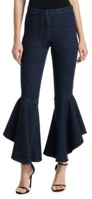 Scripted Flared Ruffle Jeans