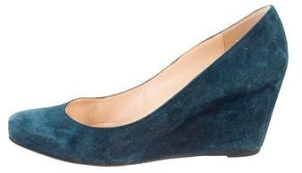 Christian Louboutin Christian Louboutin Suede Round-Toe Wedges