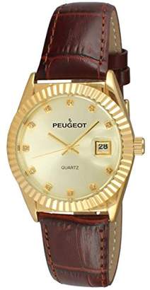 Peugeot Women's 14K Gold Plated Coin Edge Bezel Leather Band Dress Watch 3045BR