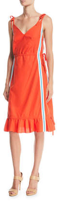Kenzo Sleeveless Side-Stripe Flounce Dress