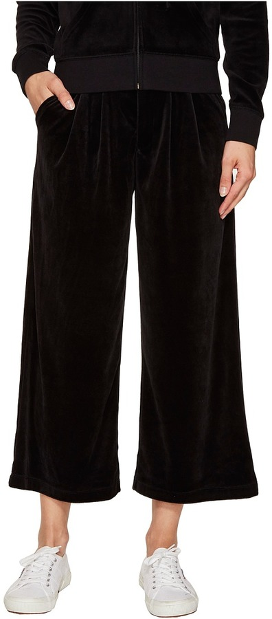 Juicy CoutureJuicy Couture - Lightweight Velour Cropped Wide Leg Trousers Women's Casual Pants