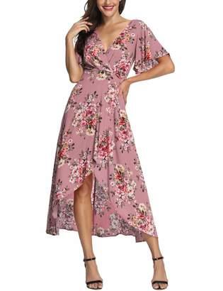 Azalosie Wrap Maxi Dress Short Sleeve V Neck Floral Flowy Front Slit High Low Women Beach Party Wedding Dress