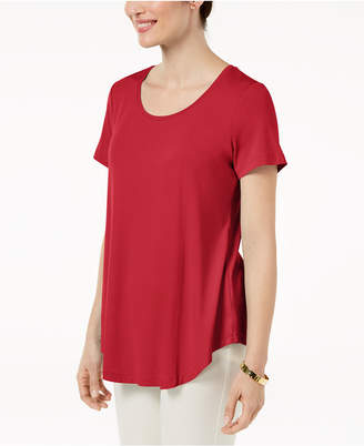 JM Collection Petite Shirttail-Hem Top