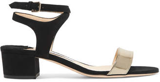 Jimmy Choo Marine 35 Suede And Metallic Leather Sandals - Black