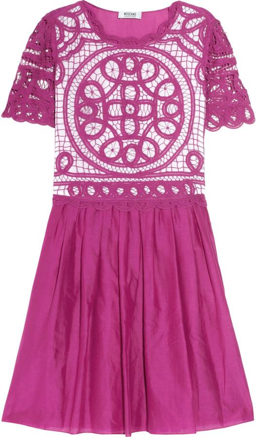 Moschino Cheap & Chic Moschino Cheap and Chic Lace-paneled cotton and silk-blend dress