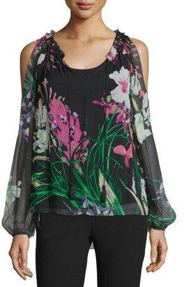 Elie Tahari Mazy Cold-Shoulder Floral-Print Blouse, Black $298 thestylecure.com