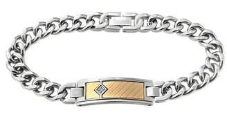 FINE JEWELRY Mens Diamond-Accent Two-Tone ID Bracelet