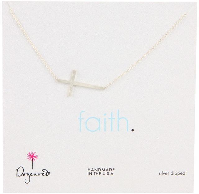 Dogeared Jewels Faith Large Sideways Cross 18