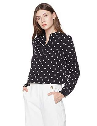 A.Dasher Women's Chiffon V-Neck Long Sleeve Button Down Blouse Shirt Top