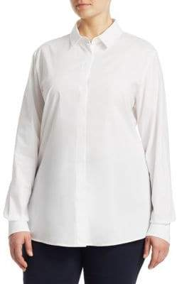 Marina Rinaldi Marina Rinaldi, Plus Size Long-Sleeve Button-Down Shirt