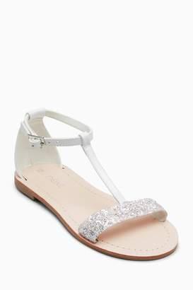 Next Girls White Glitter T-Bar Sandals (Older)