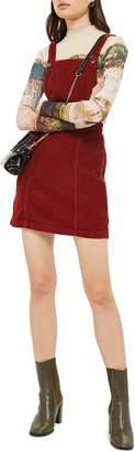 Topshop Horn Button Corduroy Pinafore Dress