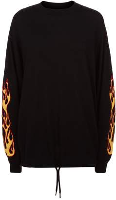 Palm Angels Flame Sleeve Wool Sweater