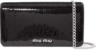 Miu Miu Sequined Leather Shoulder Bag - Black
