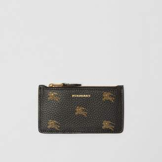 Burberry Equestrian Knight Leather Zip Card Case