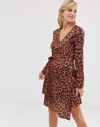 Liquorish wrap front satin mini dress in red leopard print