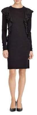 Lauren Ralph Lauren Ruffled Long-Sleeve Sweater Dress