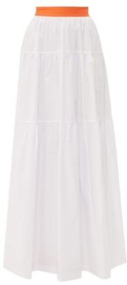 STAUD Tiered Cotton Poplin Maxi Skirt - Womens - White