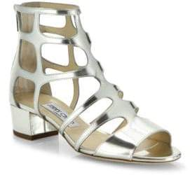 Jimmy Choo Ren Caged Metallic Leather Block Heel Sandals