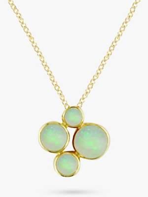 EWA 9ct Yellow Gold 4 Stone Pendant Necklace, Opal