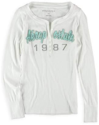 Aeropostale Womens Logo Ls Henley Shirt L