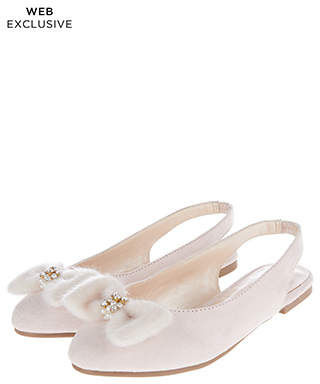 Monsoon Matilda Fluffy Bow Slingback Shoes