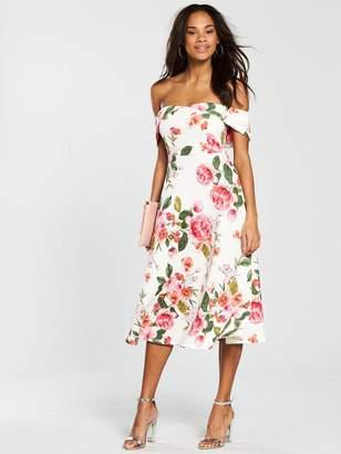 Very Bardot Scuba Prom Dress - Pink Print