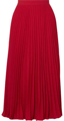 Co Pleated Crepe De Chine Midi Skirt - Crimson