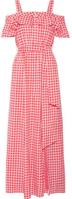Draper James - Dolly Cold-shoulder Gingham Cotton And Silk-blend Maxi Dress - Pink $450 thestylecure.com
