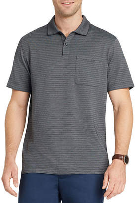 Van Heusen Short Sleeve Stripe Knit Polo Shirt Slim