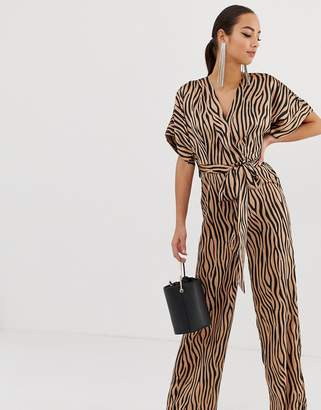 Missguided belted jumpsuit in animal print