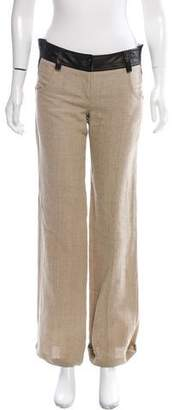 Valentino Mid-Rise Leather-Trimmed Pants