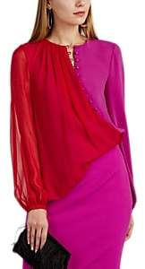 Prabal Gurung Women's Egan Colorblocked Silk Blouse - Red, Raspberry