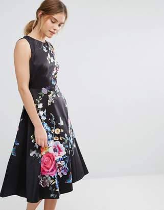 Oasis Floral Embroidered Midi Skater Dress $143 thestylecure.com
