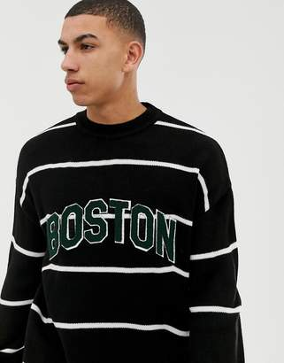 New Look crew neck stripe sweater with Boston lettering
