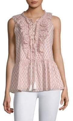 Kate Spade New York Arrow Stripe Lace-Up Cotton Top