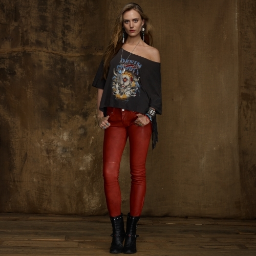 Denim & Supply Ralph Lauren Red Leather Skinny Pant