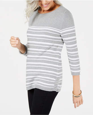 Karen Scott Striped Cotton Lace-Up Sweater