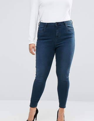 Asos High Waist Ridley Skinny Jeans In Grace Wash