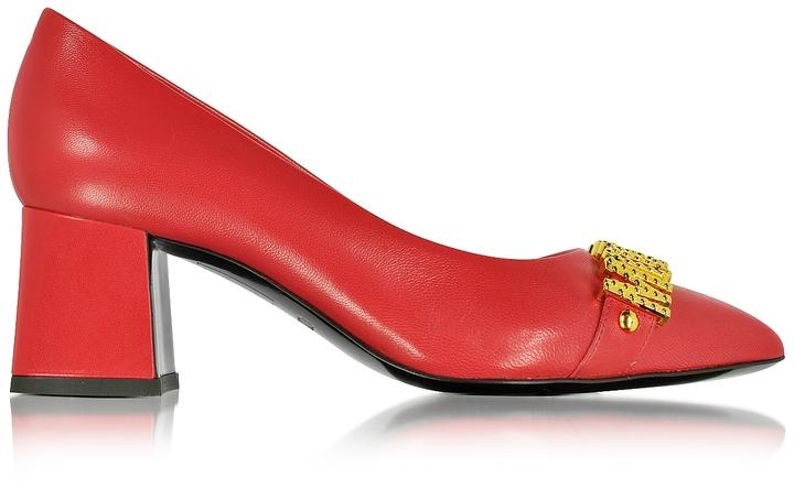 MoschinoMoschino Red Leather Mid Heel Pump