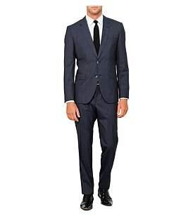 HUGO BOSS 2B Sb Sv Fl Fr Wool Text Micro Check Suit