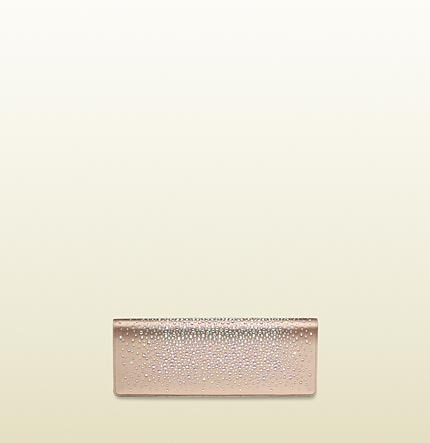 Gucci Broadway Satin Evening Clutch With Crystal Embroidery