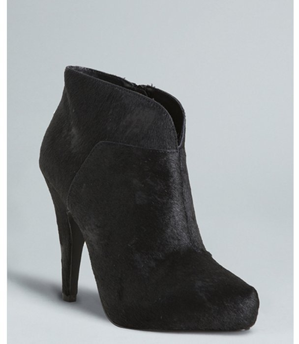 Ash black distressed calf hair 'Diana' ankle booties