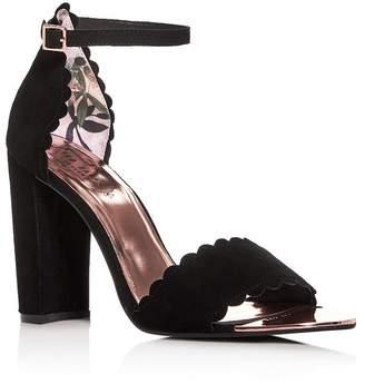 12e807e034 Ted Baker Women's Raidha Scalloped High Block-Heel Sandals